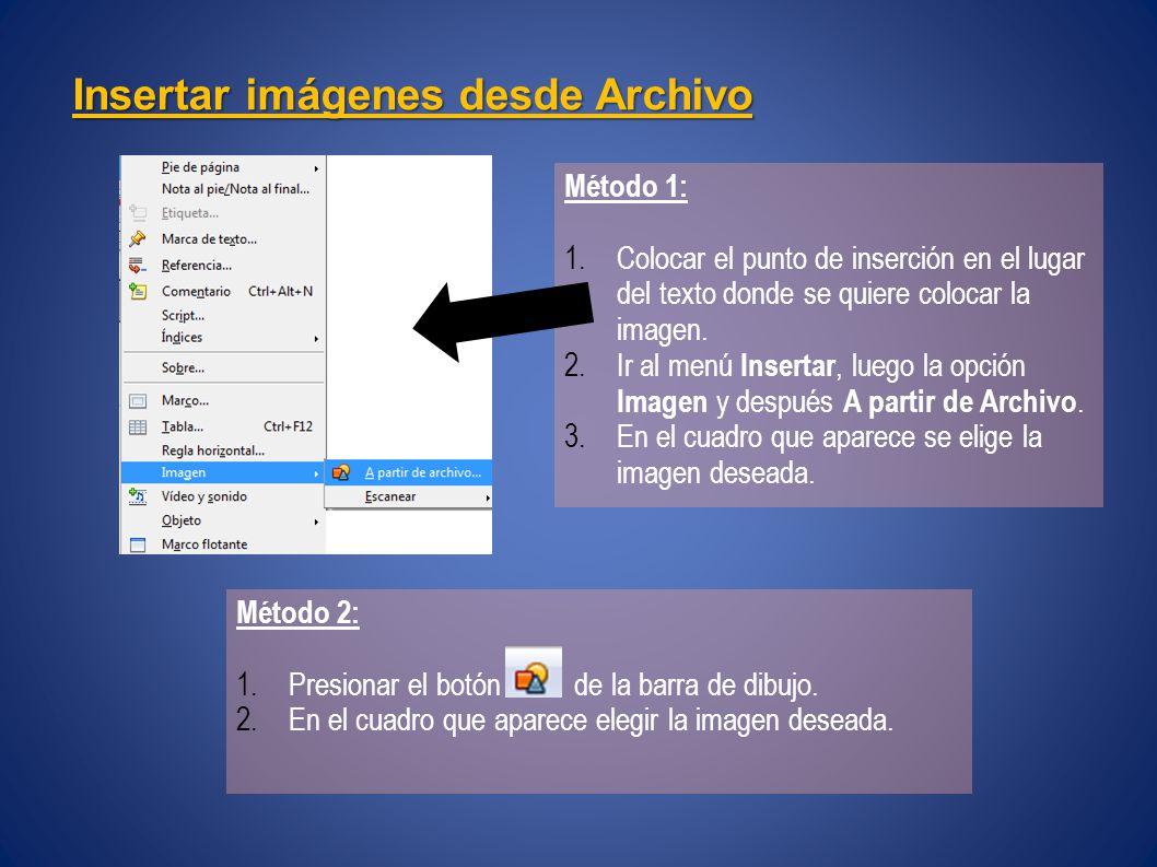 Insertar imágenes desde Archivo Método 1: 1.Colocar el punto de inserción en el lugar del texto donde se quiere colocar la imagen.