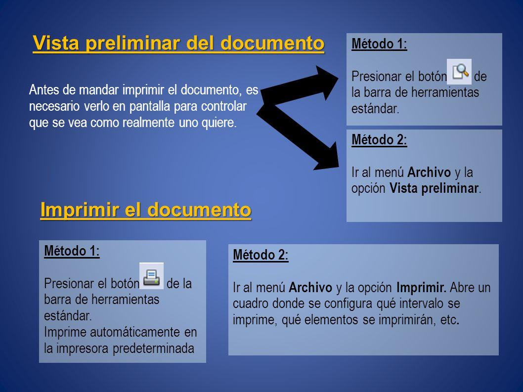 Vista preliminar del documento Antes de mandar imprimir el documento, es necesario verlo en pantalla para controlar que se vea como realmente uno quiere.