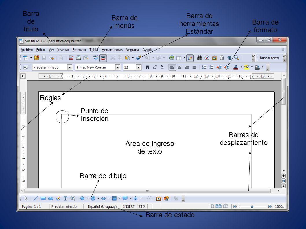 Barra de título Muestra el nombre del archivo actual de trabajo, el nombre del programa y los controles básicos de manejo de la aplicación (minimizar, maximizar y cerrar).