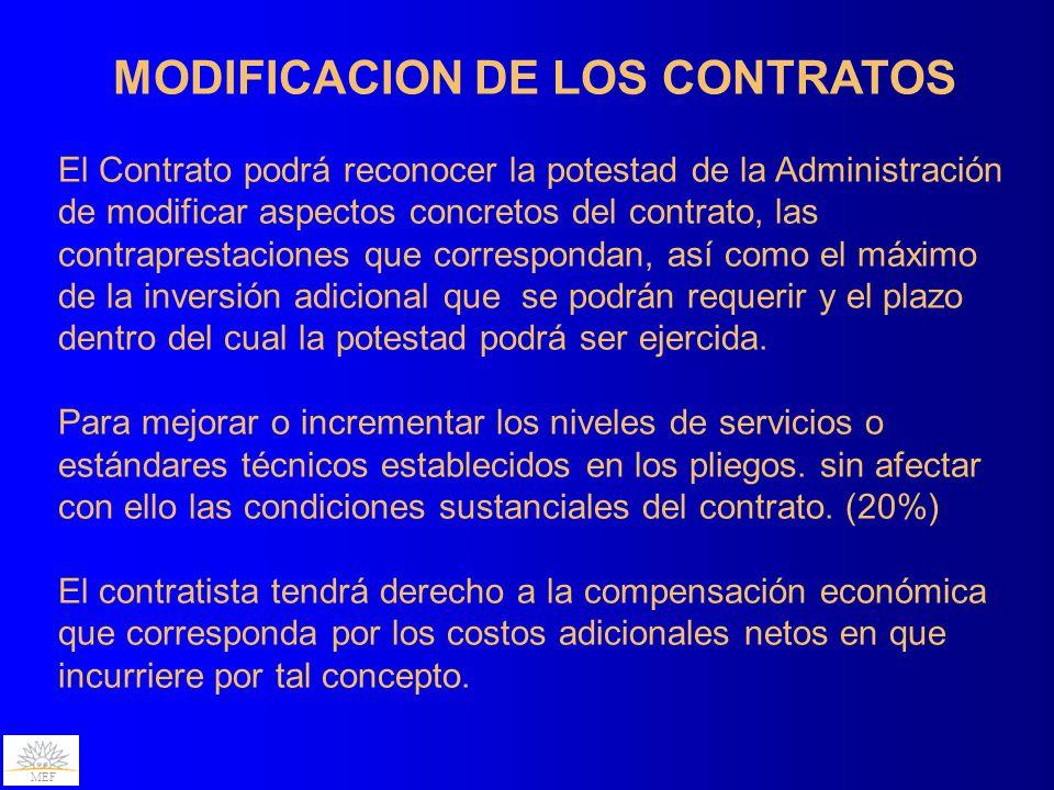 MEF MODIFICACION DE LOS CONTRATOS El Contrato podrá reconocer la potestad de la Administración de modificar aspectos concretos del contrato, las contraprestaciones que correspondan, así como el máximo de la inversión adicional que se podrán requerir y el plazo dentro del cual la potestad podrá ser ejercida.