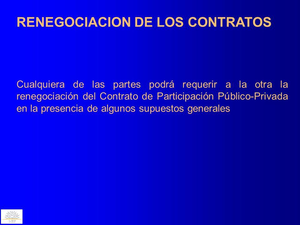 MEF RENEGOCIACION DE LOS CONTRATOS Cualquiera de las partes podrá requerir a la otra la renegociación del Contrato de Participación Público-Privada en la presencia de algunos supuestos generales