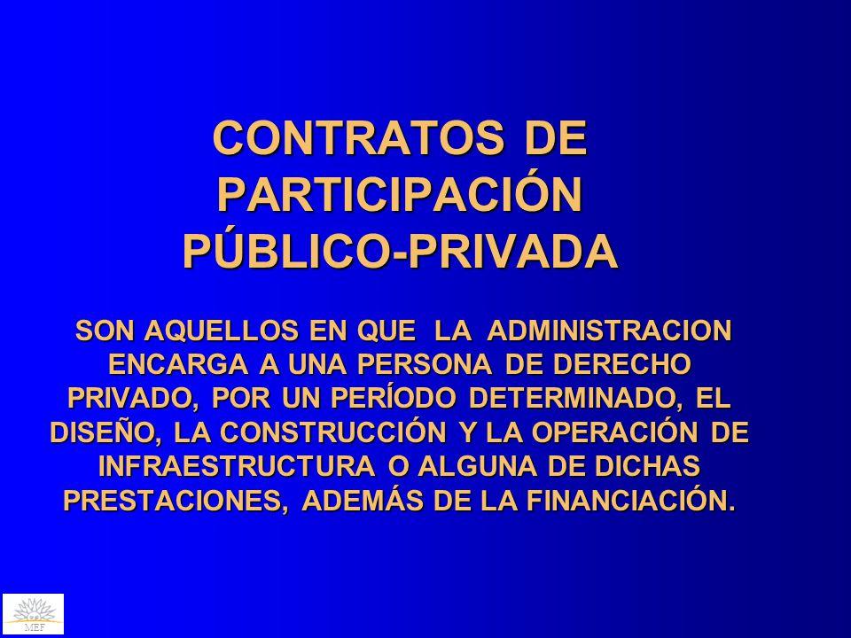 MEF CONTRATOS DE PARTICIPACIÓN PÚBLICO-PRIVADA SON AQUELLOS EN QUE LA ADMINISTRACION ENCARGA A UNA PERSONA DE DERECHO PRIVADO, POR UN PERÍODO DETERMINADO, EL DISEÑO, LA CONSTRUCCIÓN Y LA OPERACIÓN DE INFRAESTRUCTURA O ALGUNA DE DICHAS PRESTACIONES, ADEMÁS DE LA FINANCIACIÓN.