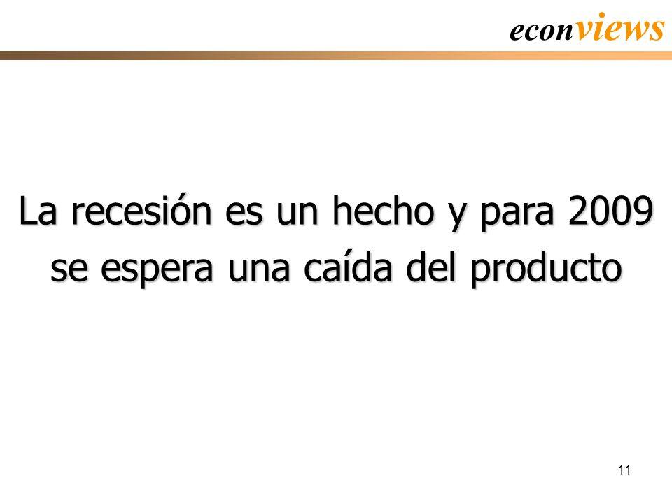 11 La recesión es un hecho y para 2009 se espera una caída del producto econ views