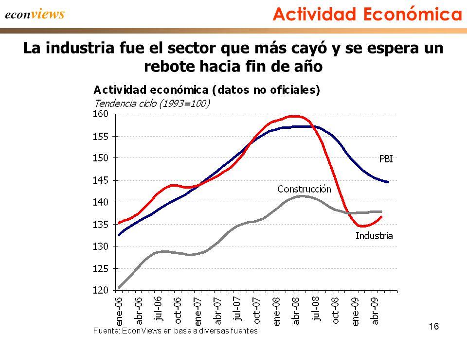 16 Actividad Económica La industria fue el sector que más cayó y se espera un rebote hacia fin de año econ views