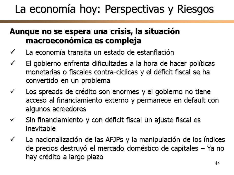 44 Aunque no se espera una crisis, la situación macroeconómica es compleja La economía transita un estado de estanflación La economía transita un esta