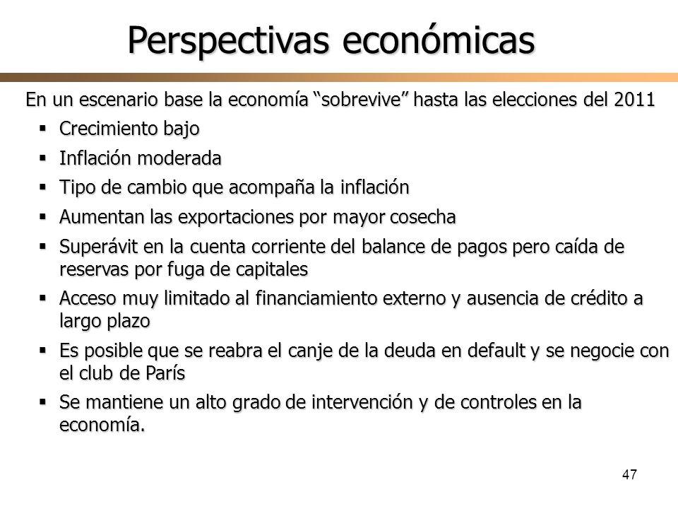 47 En un escenario base la economía sobrevive hasta las elecciones del 2011 Crecimiento bajo Crecimiento bajo Inflación moderada Inflación moderada Ti