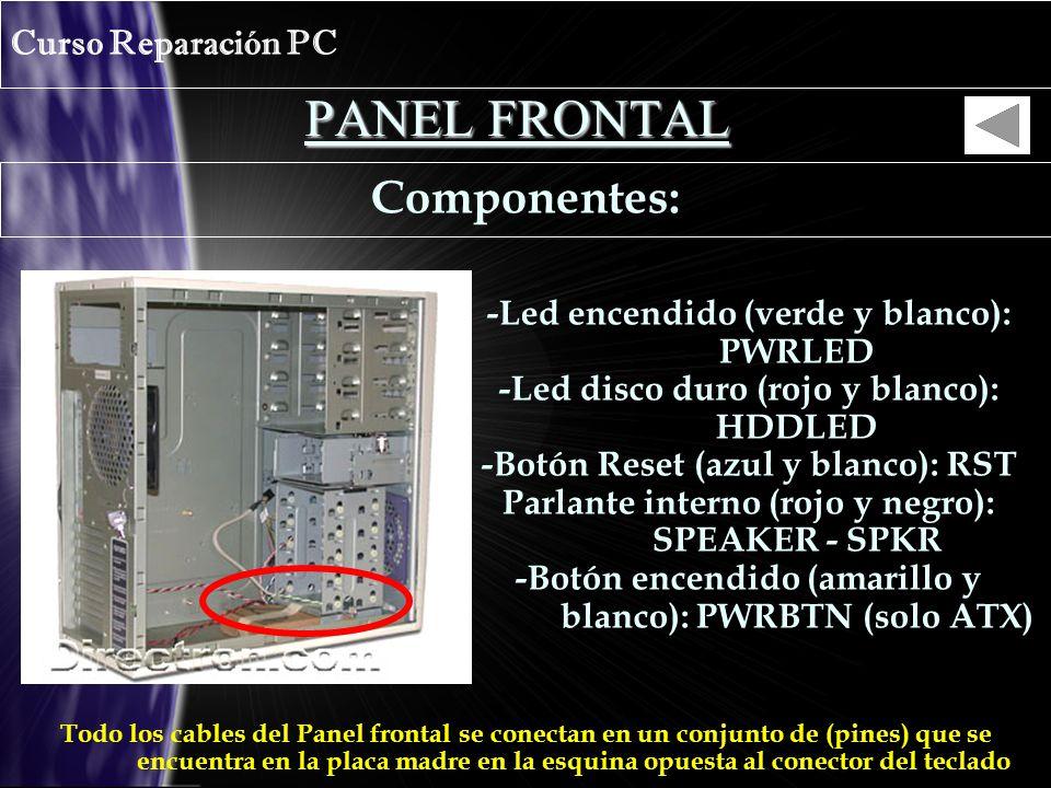 PANEL FRONTAL Curso Reparación PC Componentes: -Led encendido (verde y blanco): PWRLED -Led disco duro (rojo y blanco): HDDLED -Botón Reset (azul y blanco): RST Parlante interno (rojo y negro): SPEAKER - SPKR -Botón encendido (amarillo y blanco): PWRBTN (solo ATX) Todo los cables del Panel frontal se conectan en un conjunto de (pines) que se encuentra en la placa madre en la esquina opuesta al conector del teclado