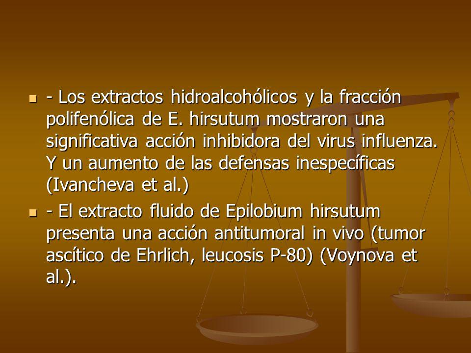 - Los extractos hidroalcohólicos y la fracción polifenólica de E. hirsutum mostraron una significativa acción inhibidora del virus influenza. Y un aum
