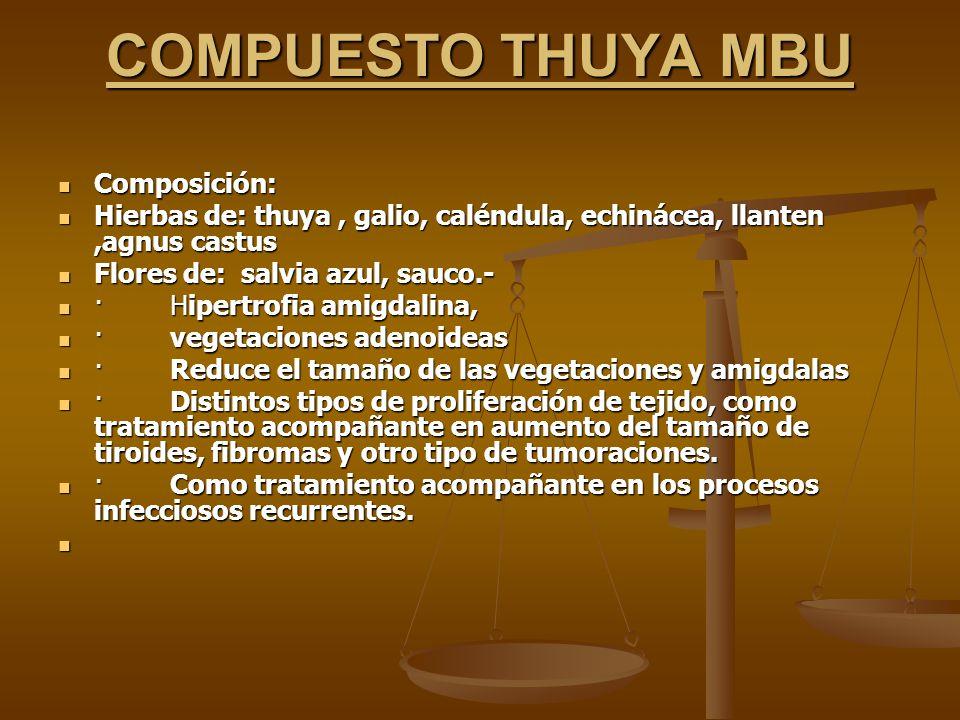 COMPUESTO THUYA MBU Composición: Composición: Hierbas de: thuya, galio, caléndula, echinácea, llanten,agnus castus Hierbas de: thuya, galio, caléndula