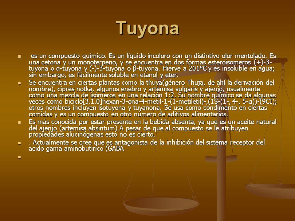 Tuyona es un compuesto químico. Es un líquido incoloro con un distintivo olor mentolado. Es una cetona y un monoterpeno, y se encuentra en dos formas