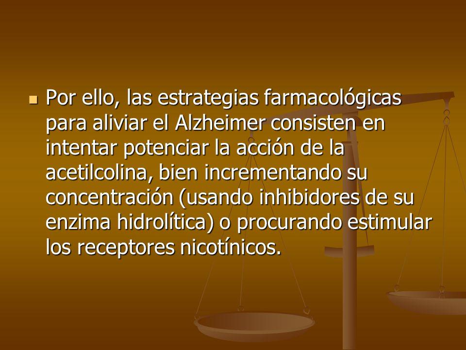 Por ello, las estrategias farmacológicas para aliviar el Alzheimer consisten en intentar potenciar la acción de la acetilcolina, bien incrementando su