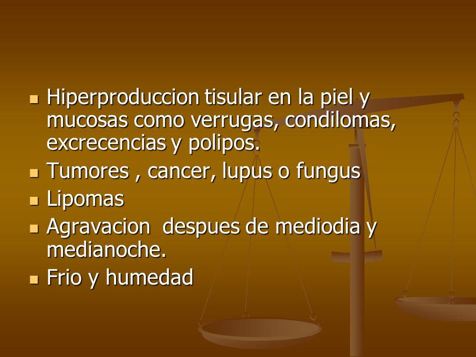 Hiperproduccion tisular en la piel y mucosas como verrugas, condilomas, excrecencias y polipos. Hiperproduccion tisular en la piel y mucosas como verr