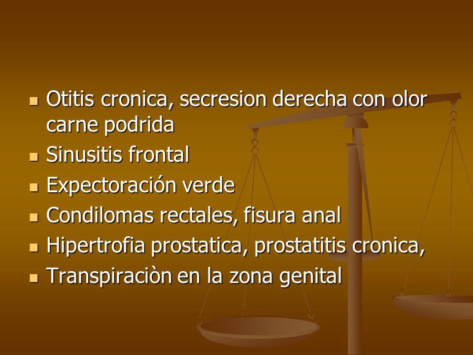 Otitis cronica, secresion derecha con olor carne podrida Otitis cronica, secresion derecha con olor carne podrida Sinusitis frontal Sinusitis frontal