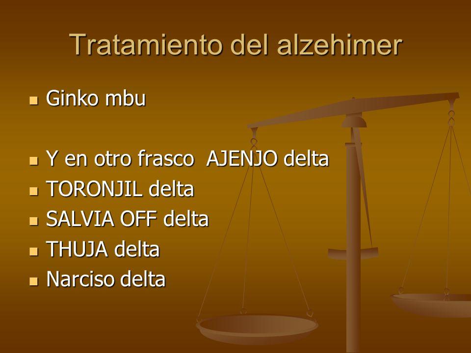 Tratamiento del alzehimer Ginko mbu Ginko mbu Y en otro frasco AJENJO delta Y en otro frasco AJENJO delta TORONJIL delta TORONJIL delta SALVIA OFF del