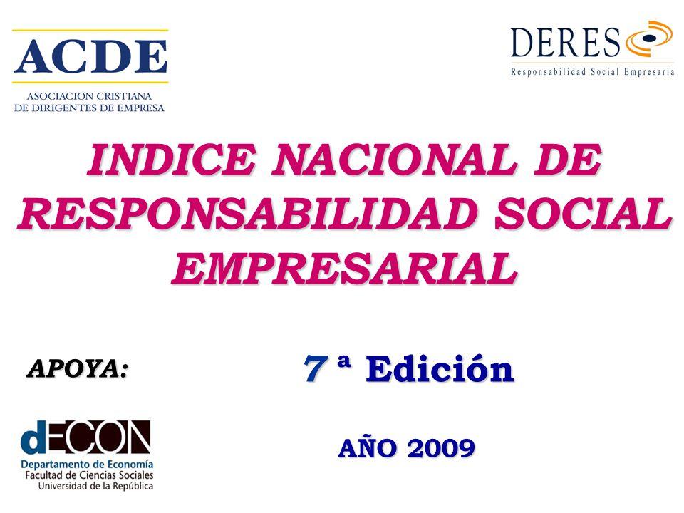 INDICE NACIONAL DE RESPONSABILIDAD SOCIAL EMPRESARIAL 7 ª Edición AÑO 2009 APOYA: