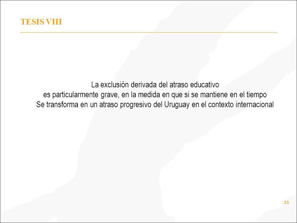 31 TESIS VIII La exclusión derivada del atraso educativo es particularmente grave, en la medida en que si se mantiene en el tiempo Se transforma en un atraso progresivo del Uruguay en el contexto internacional