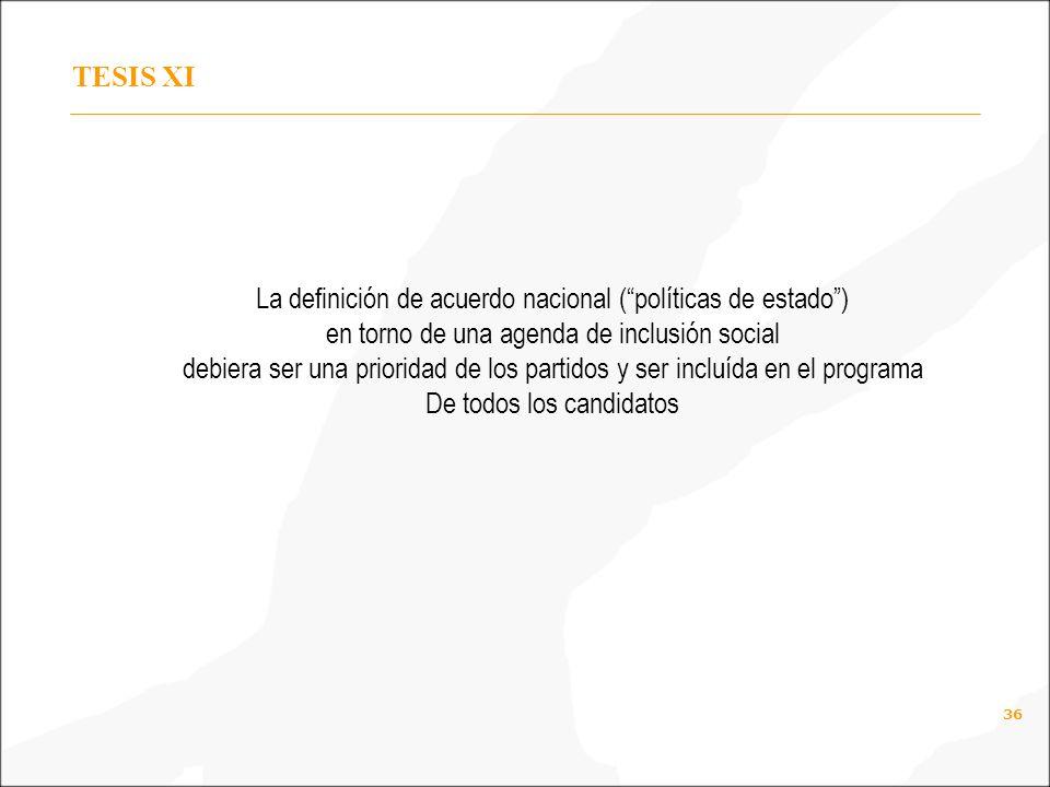 36 TESIS XI La definición de acuerdo nacional (políticas de estado) en torno de una agenda de inclusión social debiera ser una prioridad de los partidos y ser incluída en el programa De todos los candidatos