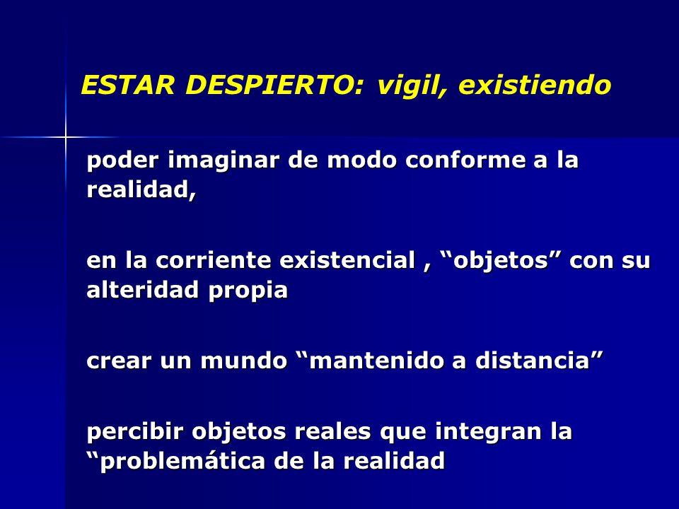 ESTAR DESPIERTO: vigil, existiendo poder imaginar de modo conforme a la realidad, en la corriente existencial, objetos con su alteridad propia crear un mundo mantenido a distancia percibir objetos reales que integran la problemática de la realidad