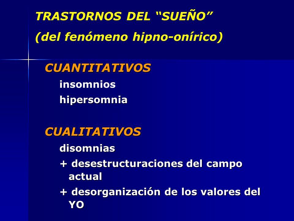 TRASTORNOS DEL SUEÑO (del fenómeno hipno-onírico) CUANTITATIVOS insomnioshipersomniaCUALITATIVOSdisomnias + desestructuraciones del campo actual + desorganización de los valores del YO