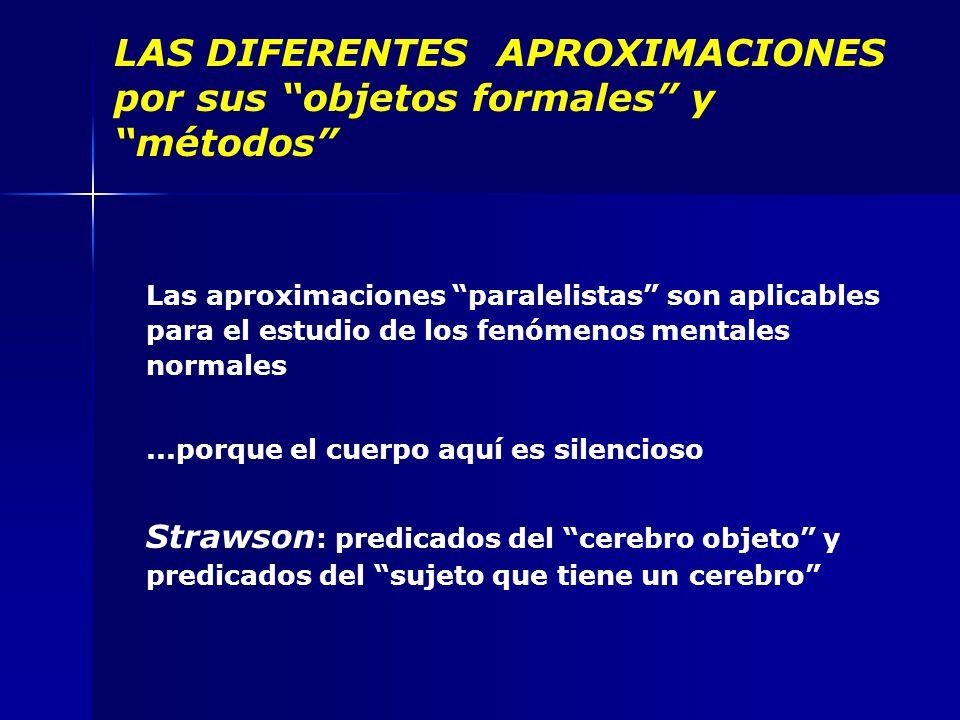 LAS DIFERENTES APROXIMACIONES por sus objetos formales y métodos Las aproximaciones paralelistas son aplicables para el estudio de los fenómenos mentales normales...porque el cuerpo aquí es silencioso Strawson : predicados del cerebro objeto y predicados del sujeto que tiene un cerebro