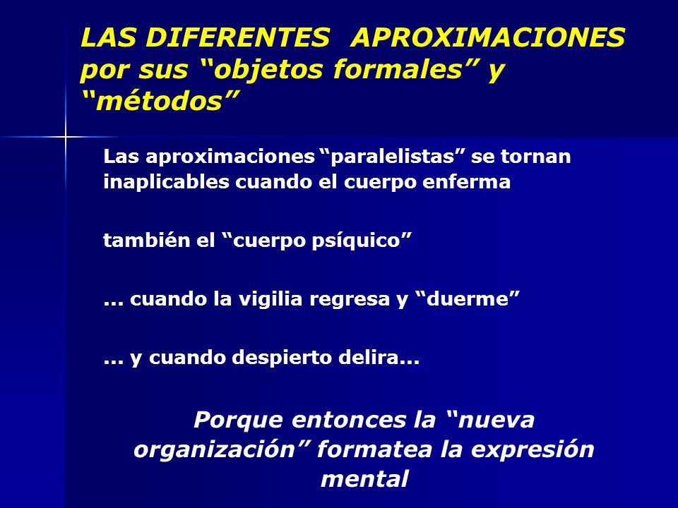 LAS DIFERENTES APROXIMACIONES por sus objetos formales y métodos Las aproximaciones paralelistas se tornan inaplicables cuando el cuerpo enferma también el cuerpo psíquico...