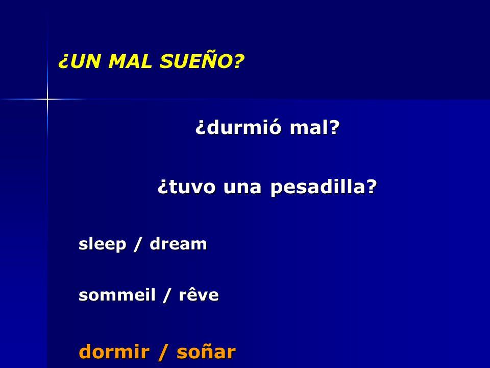 ¿UN MAL SUEÑO ¿durmió mal ¿tuvo una pesadilla sleep / dream sommeil / rêve dormir / soñar