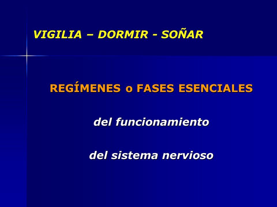 VIGILIA – DORMIR - SOÑAR REGÍMENES o FASES ESENCIALES del funcionamiento del sistema nervioso