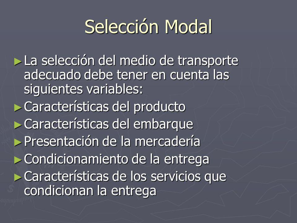 Selección Modal La selección del medio de transporte adecuado debe tener en cuenta las siguientes variables: La selección del medio de transporte adec