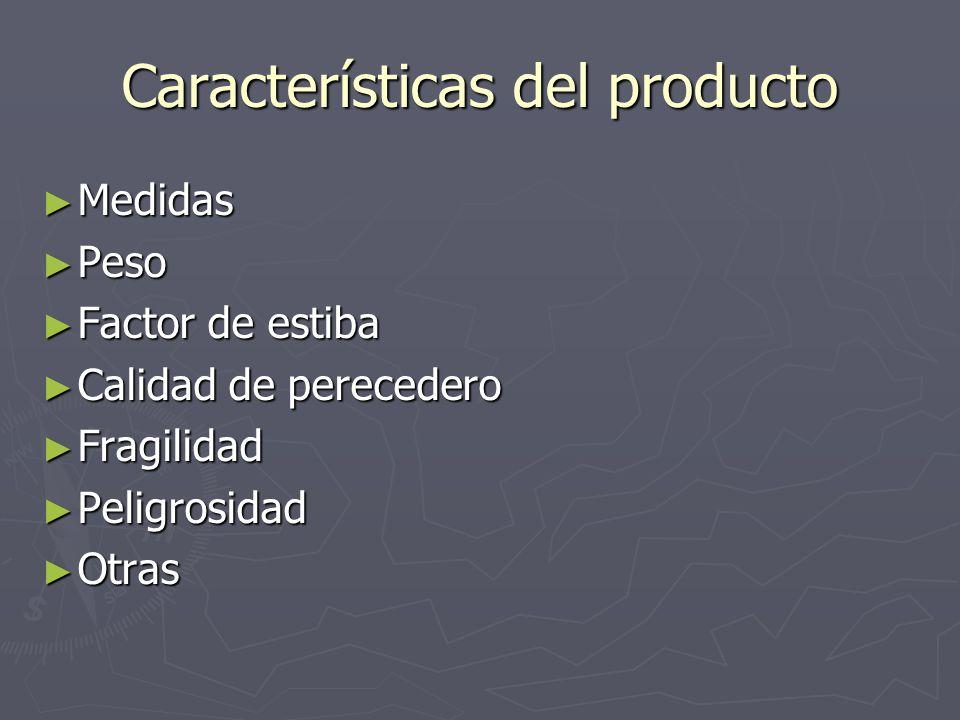 Características del producto Medidas Medidas Peso Peso Factor de estiba Factor de estiba Calidad de perecedero Calidad de perecedero Fragilidad Fragil