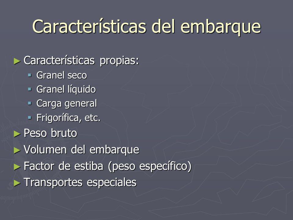 Características del embarque Características propias: Características propias: Granel seco Granel seco Granel líquido Granel líquido Carga general Car