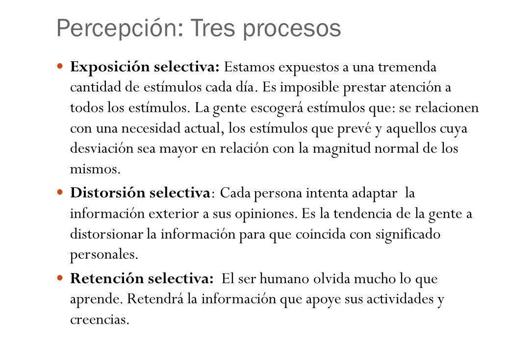 Percepción: Tres procesos Exposición selectiva: Estamos expuestos a una tremenda cantidad de estímulos cada día.
