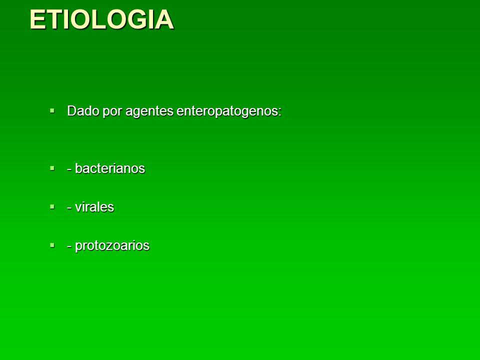 ETIOLOGIA Dado por agentes enteropatogenos: Dado por agentes enteropatogenos: - bacterianos - bacterianos - virales - virales - protozoarios - protozoarios