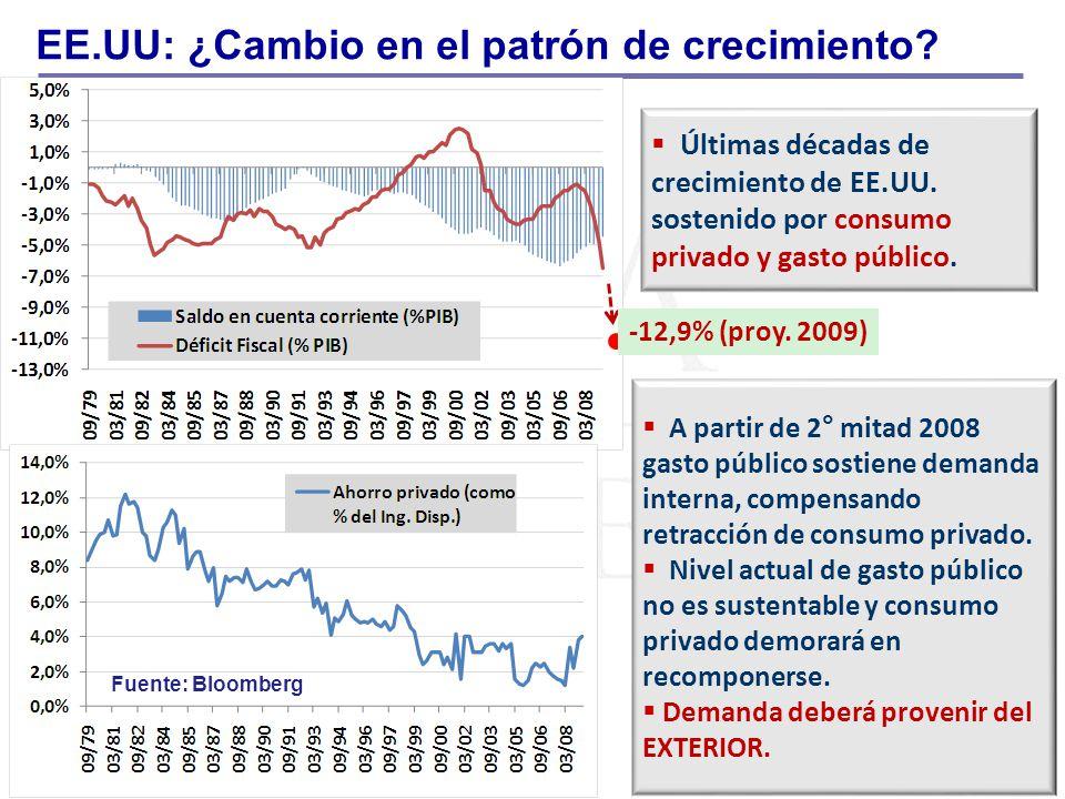 EE.UU: ¿Cambio en el patrón de crecimiento? -12,9% (proy. 2009) Últimas décadas de crecimiento de EE.UU. sostenido por consumo privado y gasto público