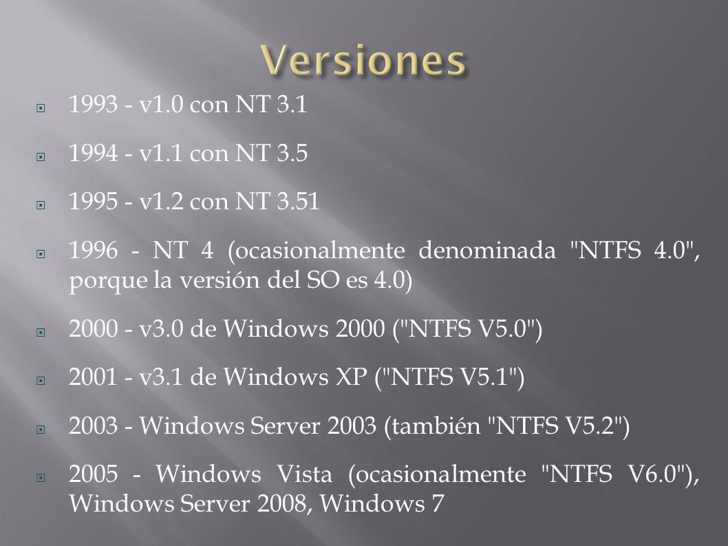 1993 - v1.0 con NT 3.1 1994 - v1.1 con NT 3.5 1995 - v1.2 con NT 3.51 1996 - NT 4 (ocasionalmente denominada NTFS 4.0 , porque la versión del SO es 4.0) 2000 - v3.0 de Windows 2000 ( NTFS V5.0 ) 2001 - v3.1 de Windows XP ( NTFS V5.1 ) 2003 - Windows Server 2003 (también NTFS V5.2 ) 2005 - Windows Vista (ocasionalmente NTFS V6.0 ), Windows Server 2008, Windows 7