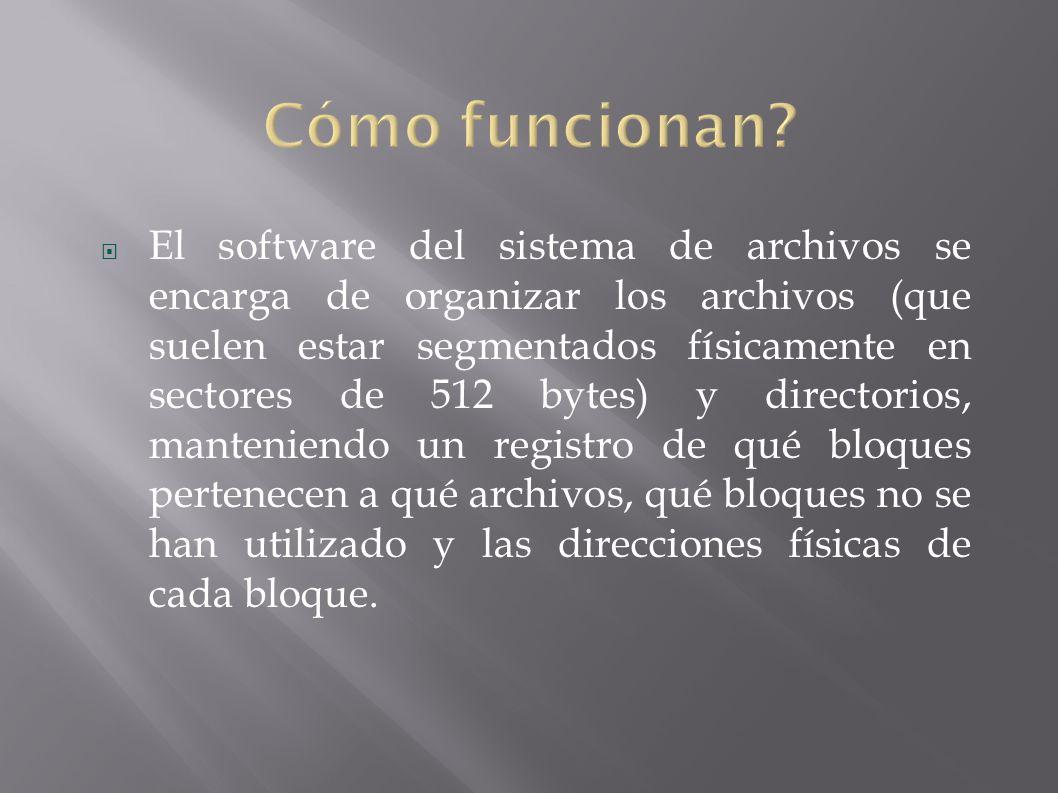 El software del sistema de archivos se encarga de organizar los archivos (que suelen estar segmentados físicamente en sectores de 512 bytes) y directorios, manteniendo un registro de qué bloques pertenecen a qué archivos, qué bloques no se han utilizado y las direcciones físicas de cada bloque.