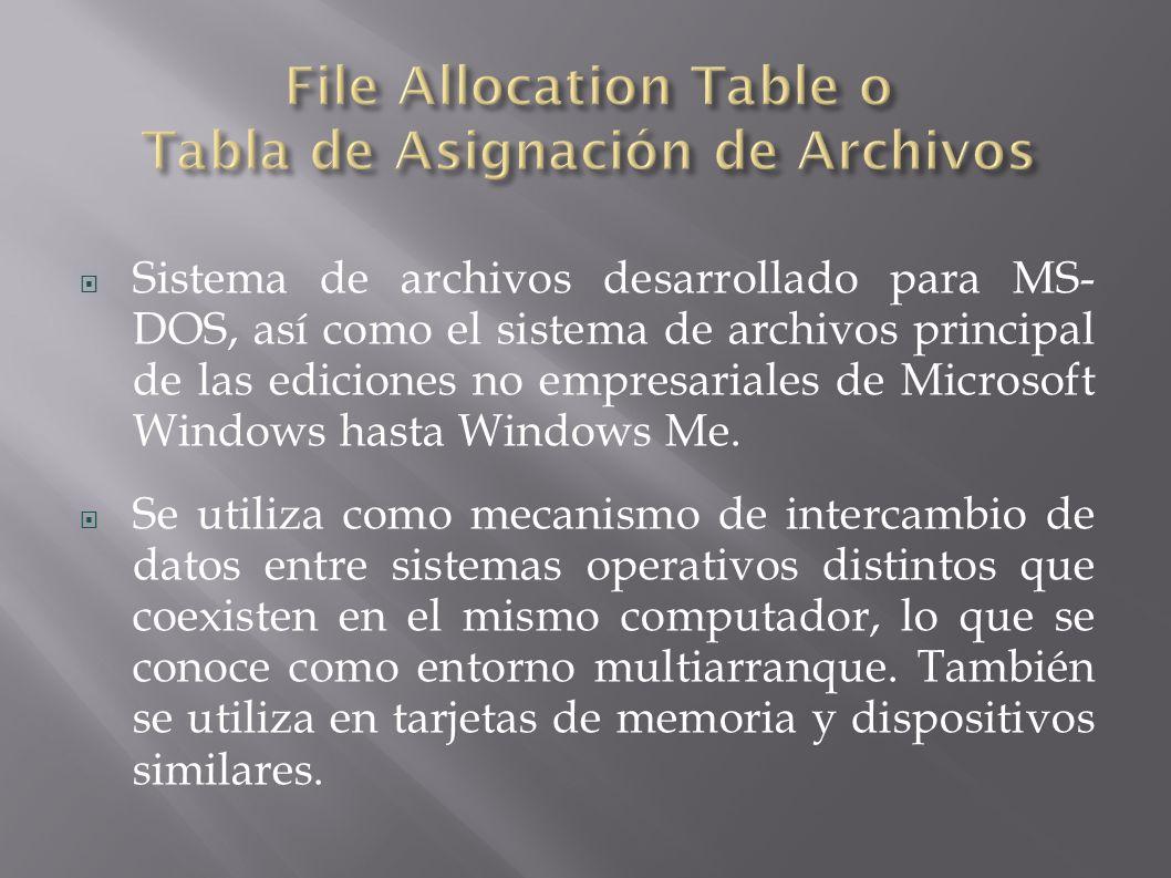 Sistema de archivos desarrollado para MS- DOS, así como el sistema de archivos principal de las ediciones no empresariales de Microsoft Windows hasta Windows Me.