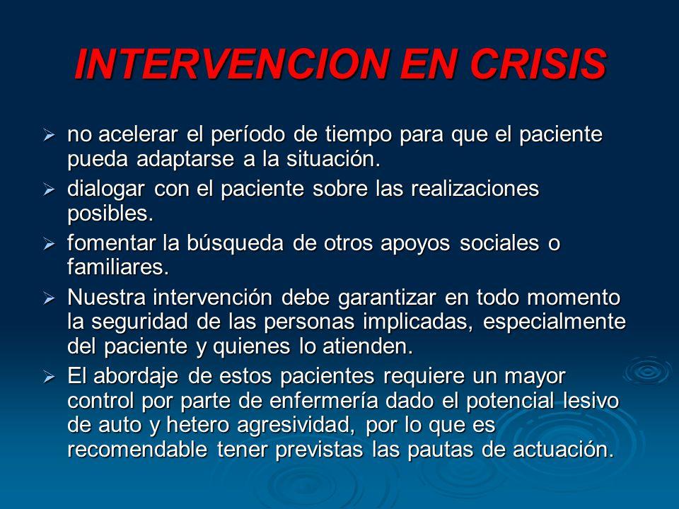 INTERVENCION EN CRISIS no acelerar el período de tiempo para que el paciente pueda adaptarse a la situación.