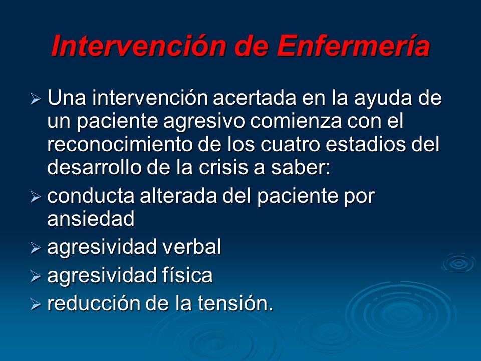 Intervención de Enfermería Una intervención acertada en la ayuda de un paciente agresivo comienza con el reconocimiento de los cuatro estadios del des
