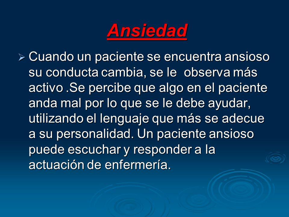 Ansiedad Ansiedad Cuando un paciente se encuentra ansioso su conducta cambia, se le observa más activo.Se percibe que algo en el paciente anda mal por lo que se le debe ayudar, utilizando el lenguaje que más se adecue a su personalidad.