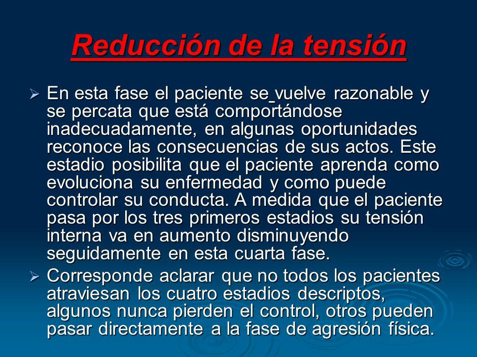 Reducción de la tensión En esta fase el paciente se vuelve razonable y se percata que está comportándose inadecuadamente, en algunas oportunidades rec