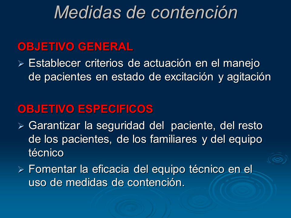 Medidas de contención OBJETIVO GENERAL Establecer criterios de actuación en el manejo de pacientes en estado de excitación y agitación Establecer crit