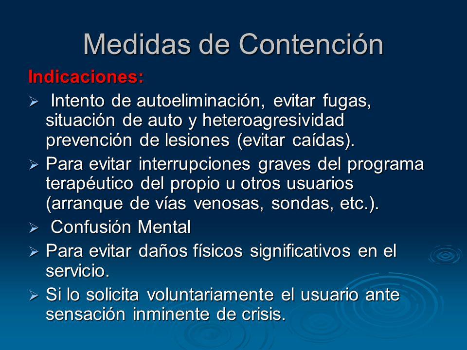 Medidas de Contención Indicaciones: Intento de autoeliminación, evitar fugas, situación de auto y heteroagresividad prevención de lesiones (evitar caídas).