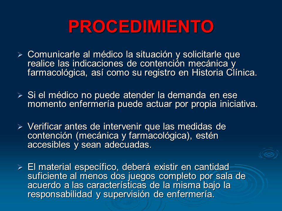 PROCEDIMIENTO Comunicarle al médico la situación y solicitarle que realice las indicaciones de contención mecánica y farmacológica, así como su registro en Historia Clínica.