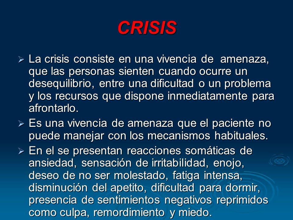 CRISIS La crisis consiste en una vivencia de amenaza, que las personas sienten cuando ocurre un desequilibrio, entre una dificultad o un problema y los recursos que dispone inmediatamente para afrontarlo.