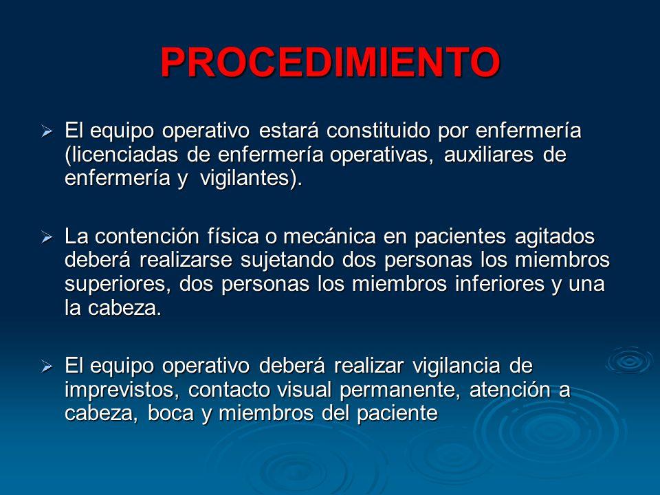 PROCEDIMIENTO El equipo operativo estará constituido por enfermería (licenciadas de enfermería operativas, auxiliares de enfermería y vigilantes). El