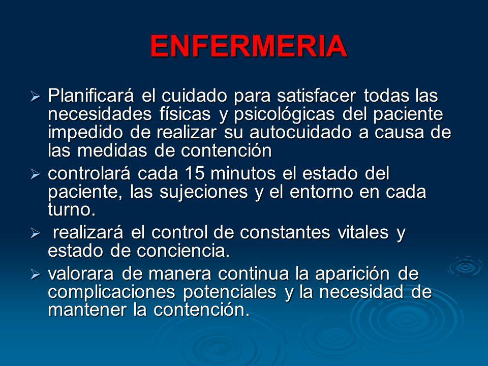 ENFERMERIA ENFERMERIA Planificará el cuidado para satisfacer todas las necesidades físicas y psicológicas del paciente impedido de realizar su autocui