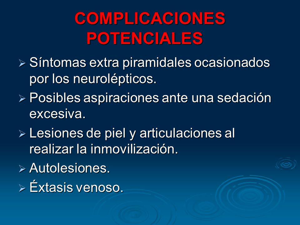 COMPLICACIONES POTENCIALES COMPLICACIONES POTENCIALES Síntomas extra piramidales ocasionados por los neurolépticos. Síntomas extra piramidales ocasion