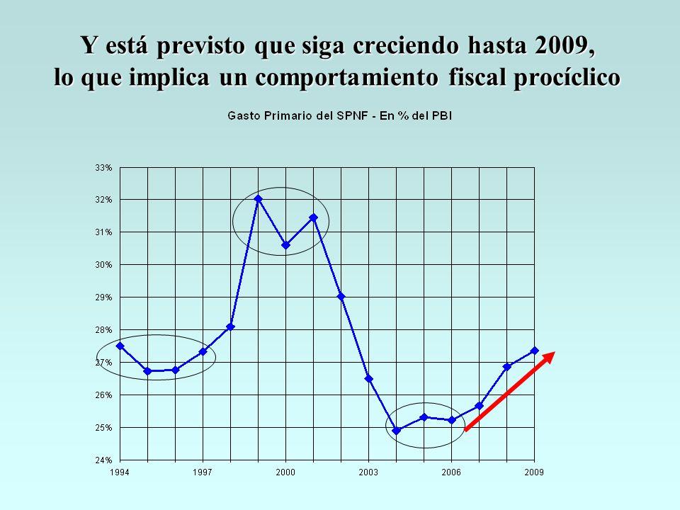 Y está previsto que siga creciendo hasta 2009, lo que implica un comportamiento fiscal procíclico