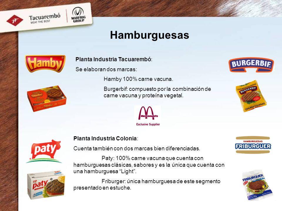 Planta Industria Tacuarembó: Se elaboran dos marcas: Hamby 100% carne vacuna. Burgerbif: compuesto por la combinación de carne vacuna y proteína veget