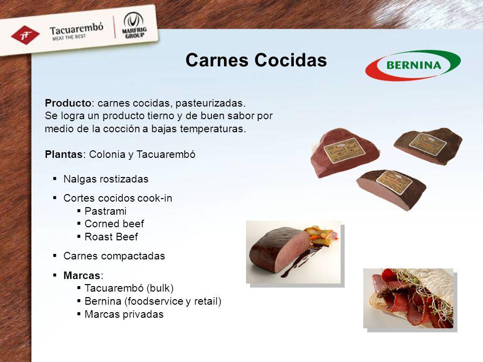 Nalgas rostizadas Cortes cocidos cook-in Pastrami Corned beef Roast Beef Carnes compactadas Marcas: Tacuarembó (bulk) Bernina (foodservice y retail) Marcas privadas Producto: carnes cocidas, pasteurizadas.